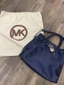 Michael Kors Hamilton Large Sapphire Blue Saffiano Leather Handbag Tote Purse