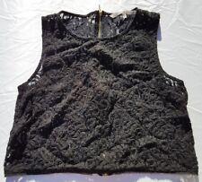 Rachel Roy Women Lace Blouse Short Shirt Sexy Crop Tops Back Zipper Black Sz 8