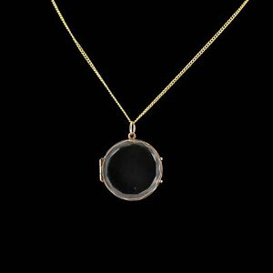 Antique Victorian Faceted Crystal Gold Round Locket Pendant and Chain Necklace