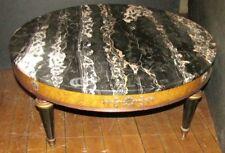 Vintage Stamped Weiman Burled & Black Marble Top 3' Diameter Coffee Table 102MP