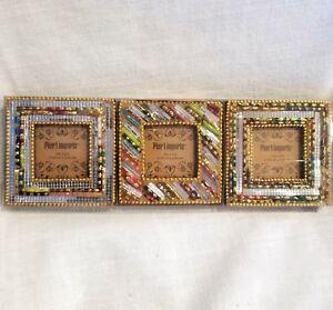 Pier 1 Imports Photo Frames 2 x 2 Handmade Artisans Glass Bangle Bracelets Set 3