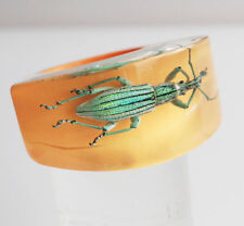 Fun yellow lucite ring with real iridescent insect size 7