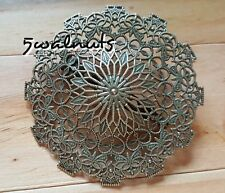 Large Vintage Bronze Filigree Brooch Pin Round Jewellery Gift