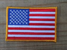 American Flag,Us Flag Yellow Border Embroidery Iron On Patch- 3 5/8""