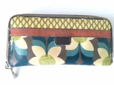 FOSSIL Key Per Wallet Clutch Purse Organizer Floral Coated Canvas Distressed