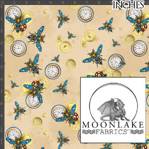 Steampunk Bee Pattern 100% Quality Cotton Fabric * Exclusive * NOT metallic