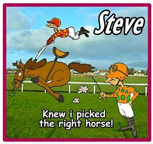 PERSONALISED FUN HORSE RACING SOUVENIR NOVELTY BIG SQUARE FRIDGE MAGNET / GIFTS