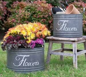 Scripted Galvanized Reproduction Flower Bins Buckets with Handles Planter Set