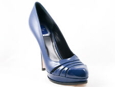 New  Christian  Dior Glam Blue patent Leather Shoes  35.5 US  5.5