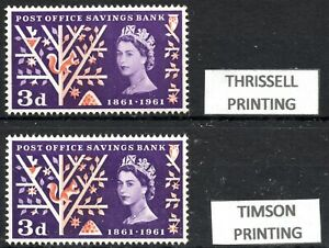 1961 Post Office Savings 3d S G624A & SG 624B Both Printers Unmounted Mint