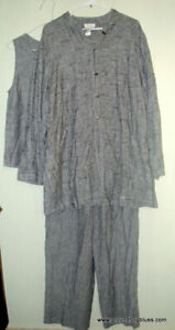 Coldwater Creek Wonderful Textured Jacket, Top and Pants Outfit Large Grey Linen