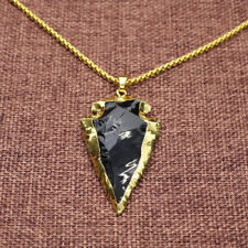 "Arrowhead Pendant Necklace Raw Obsidian Dragonglass Black Gold 30"" Steel Chain"
