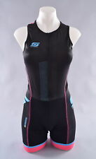 StageOne Pro Tri Suit Women's XS Black Blue Sleeveless Triathlon