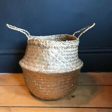 Small Plain & Gold Seagrass Belly Basket Straw Planter Laundry Basket Storage