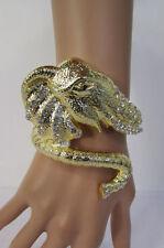 New Women Bracelet Fashion Big Gold Metal Elephant Head  Cuff Silver Rhinestones
