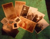 Vintage 40's Black & White & Sepia PHOTOS + Negatives + Slides in Brown Envelope