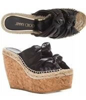 Jimmy Choo Priory Knotted Double Band Wedge Slingback Cork Sandals 38 EU 7 7.5