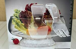 Prodyne Acrylic Salad Bowl on Ice Serveware  Pedestal Bowl with Salad Servers