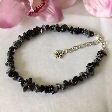 Handmade Genuine Gemstone Jewellery, Snowflake Obsidian anklet.