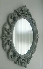 French Grey Ornate Oval Baroque Mirror NEW 30cm x 40cm WALL MOUNTABLE