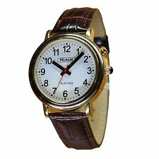 Mens Gold Talking Watch, Brown Croc Effect Strap