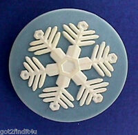 Hallmark PIN Christmas Vintage SNOWFLAKE White on Blue Holiday Brooch