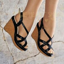 Ladies Ankle Strap Wedges Womens Shoe High Heel Strappy Caged Sandals Size 20326
