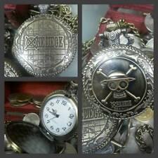 One Piece Pocket Watch Pirate Skull Skeleton Luffy Straw Hat Quartz Dial Bronze
