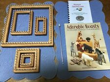 Lot 5 Pin Looms, Adorable Beasts Pattern Book & Hook. 2� - 10�.