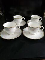 MIKASA FRIENDSHIP GARDEN 8 FOOTED COFFEE CUPS AND SAUCER AK005 BONE CHINA JAPAN