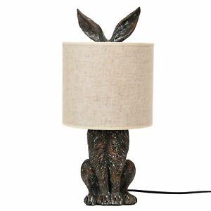 Hestia Hiding Rabbit Hare Bronze Effect Table Lamp with Cream Shade
