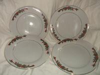 "4 Fairfield China POINSETTIA & RIBBONS Dinner Plates 10 1/2"""