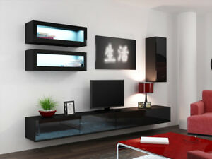 Seattle C2 - black contemporary living room furniture / tv stand cabinet