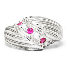 Vintage Ruby Swirl Cocktail Ring with Diamonds 14K White Gold .20ctw