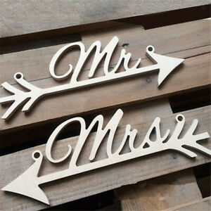 Rustic Wood Wedding Sign  &Mrs Chair Signs Wedding Party Chair Decoration