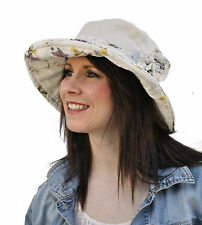 Ladies Sun Hat with floral lining & flower detail. Shapeable wired brim (A210)