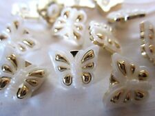 "5/8"" BUTTERFLY Buttons (12 pc)  GOLD - IVORY"