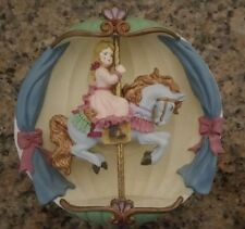 Beautiful Ceramic Merry Go Round Horse & Girl Music Box Wall Decoration (NEW)
