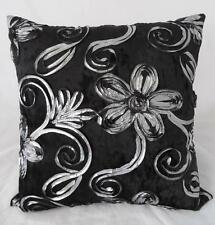 Silver Ribbon Florals on Black Crushed Velvet Home Decor Cushion Cover 45cm