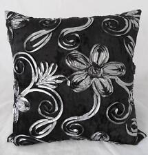 Silver Ribbon Florals on Black Crushed Velvet Home Decor Cushion Cover 45cm