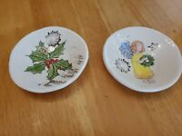 "Sukey USA Pottery 3.75"" Bowls Set of 2 Holly/Sheet Music and Angel with Wreath"