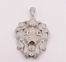 """2 1/2"""" Men's Lion's Head Iced Out CZ Pendant White Sterling Silver 925"""