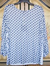 TOMMY BAHAMA Blue and White Linen 3/4 sleeve Top size L