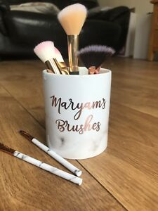 Personalised Marble Rose Gold Effect Ceramic Make Up Brush Holder Gift