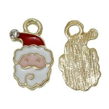 4 x Enamel Santa Gold Plated Pendant Charms Xmas Father Christmas 17mm