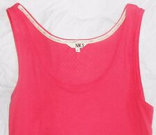 NW3 Hobbs Pointelle Vest raspberry pink lace jersey sleeveless Top Size L vgc