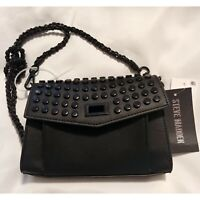 Steve Madden Crossbody Bag Black Aiden Chain Strap Faux Leather Imperfect