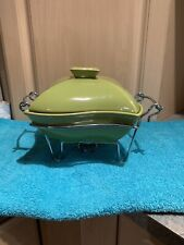 Godinger 1 Qt Avocado Green Serving Covered Porcelain Baker Dish & Warmer Stand