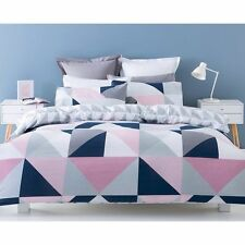 NAVY PINK GREY WHITE GEOMETRIC DOUBLE bed QUILT DOONA COVER SET NEW