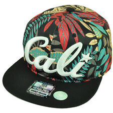 Cali California Hawaiian Floral Crown Black Flat Brim Hat Cap Snapback Satin Red